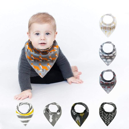 Baby Bandanas (8-Pack Unisex Baby Bibs Bandana Drool Bibs Set for Drooling and Teething Boys Girls)