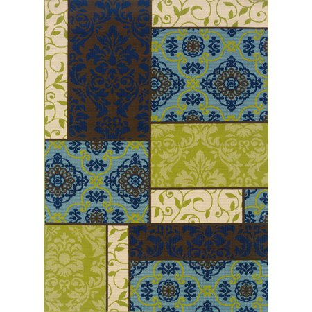 Moretti Crowne Area Rugs - 3066V Outdoor Brown Patio Panels Damask Leaves Rug (Brown Leaf Area Rug)
