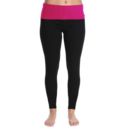 Nouveau Women's Active Full Length Yoga Pant with Contrasting Color Waistband - Hot Pink Pop, Large ()