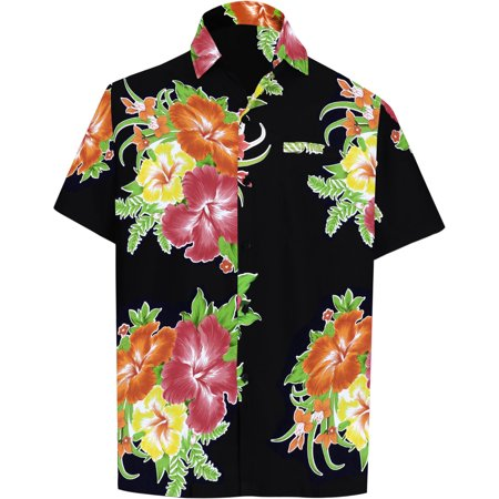 Mens Hawaiian Camp Shirt - Hawaiian Shirt Mens Beach Aloha Camp Party Holiday Short Sleeve Pocket Hibiscus Floral Print I