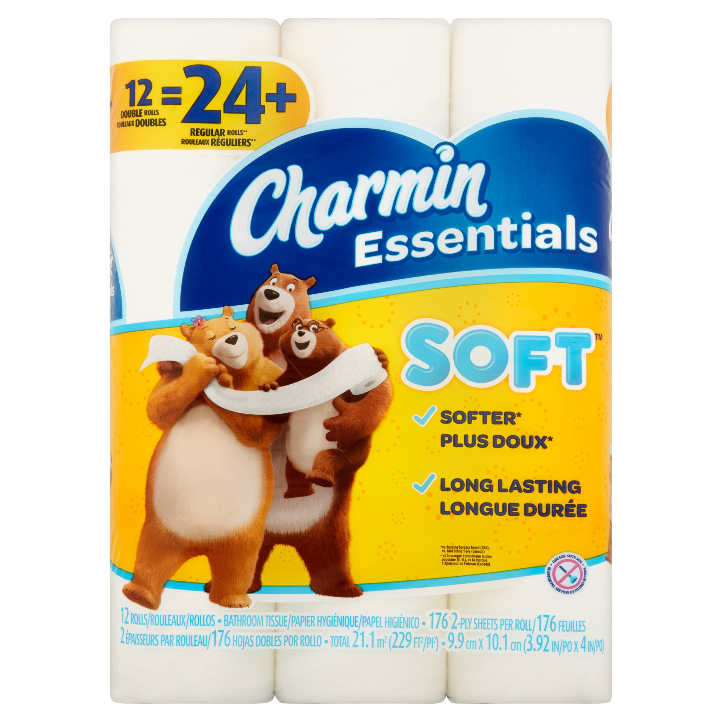Charmin Essentials Soft Toilet Paper, 12 double rolls by 42971:Procter And Gamble