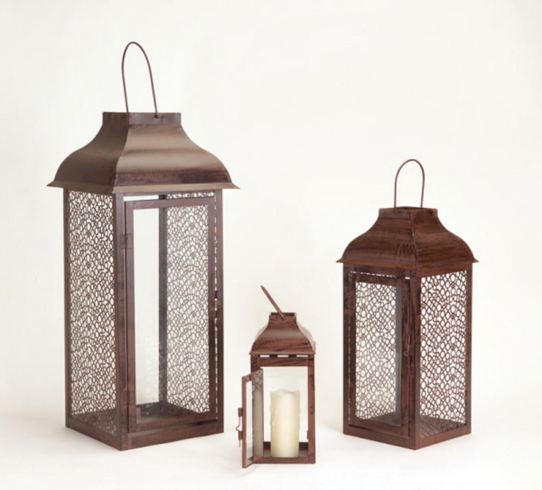 """Set of 3 Brown Metal Mesh & Glass Pillar Candle Lanterns 8.75"""" - 21"""""""