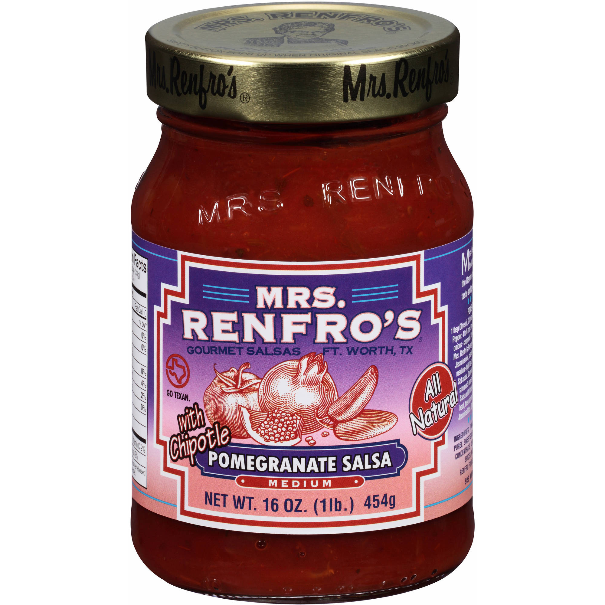 Mrs. Renfro's Gourmet Medium Pomegranate Salsa with Chipotle, 16 oz