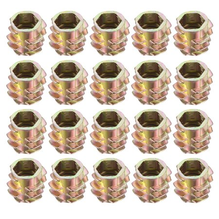 Threaded Insert Nuts Zinc Alloy Hex-Flush M6 Internal Threads 10mm Length  20pcs
