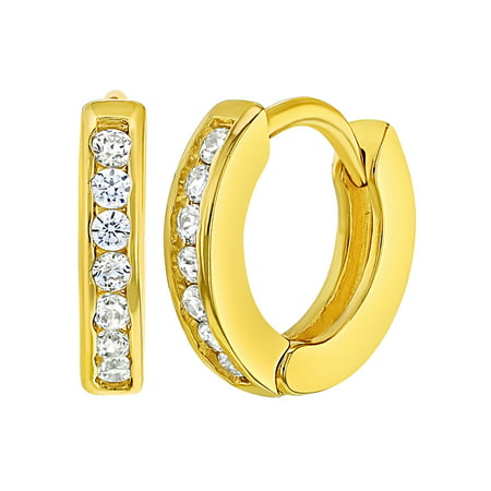 18k Gold Plated Clear Crystal Baby Small Hoop Huggie Earrings Toddler 0 39