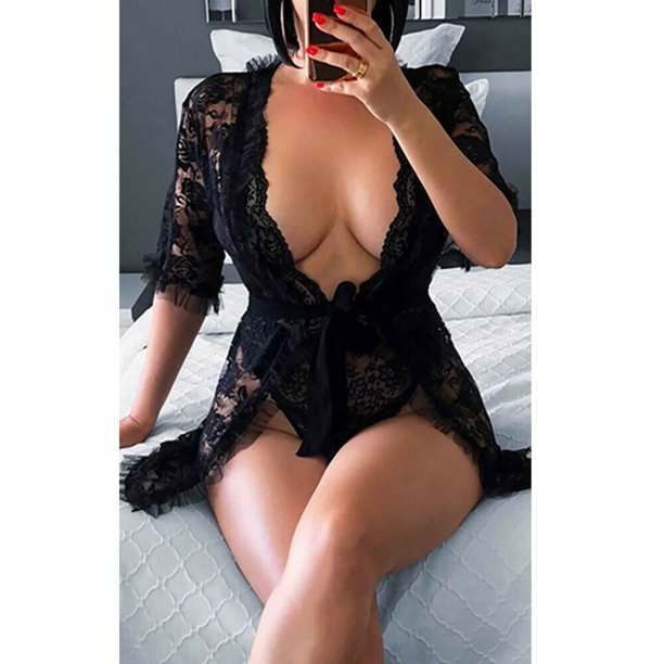 best cheap lingerie : NEW Women's Sexy Lingerie Babydoll Sleepwear Underwear Lace BLACK Dress set Best