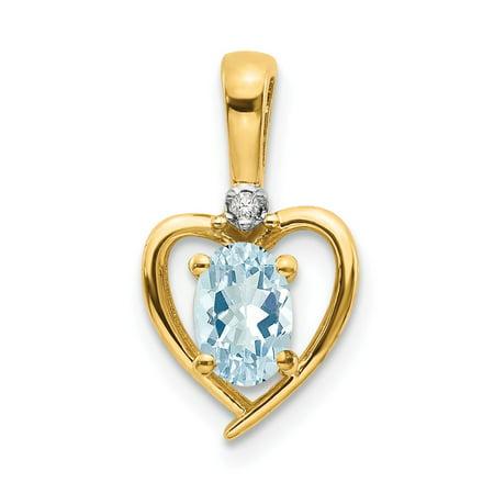 Roy Rose Jewelry 10K Yellow Gold Diamond & Oval 0.38-Carat Aquamarine Pendant