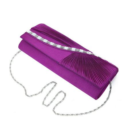 - Elegant Wave Crystal Pleated Satin Flap Clutch Evening Bag