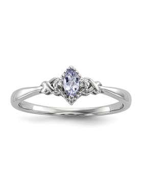 Sterling Silver 9 MM Diamond and Tanzanite Ring, Size 7