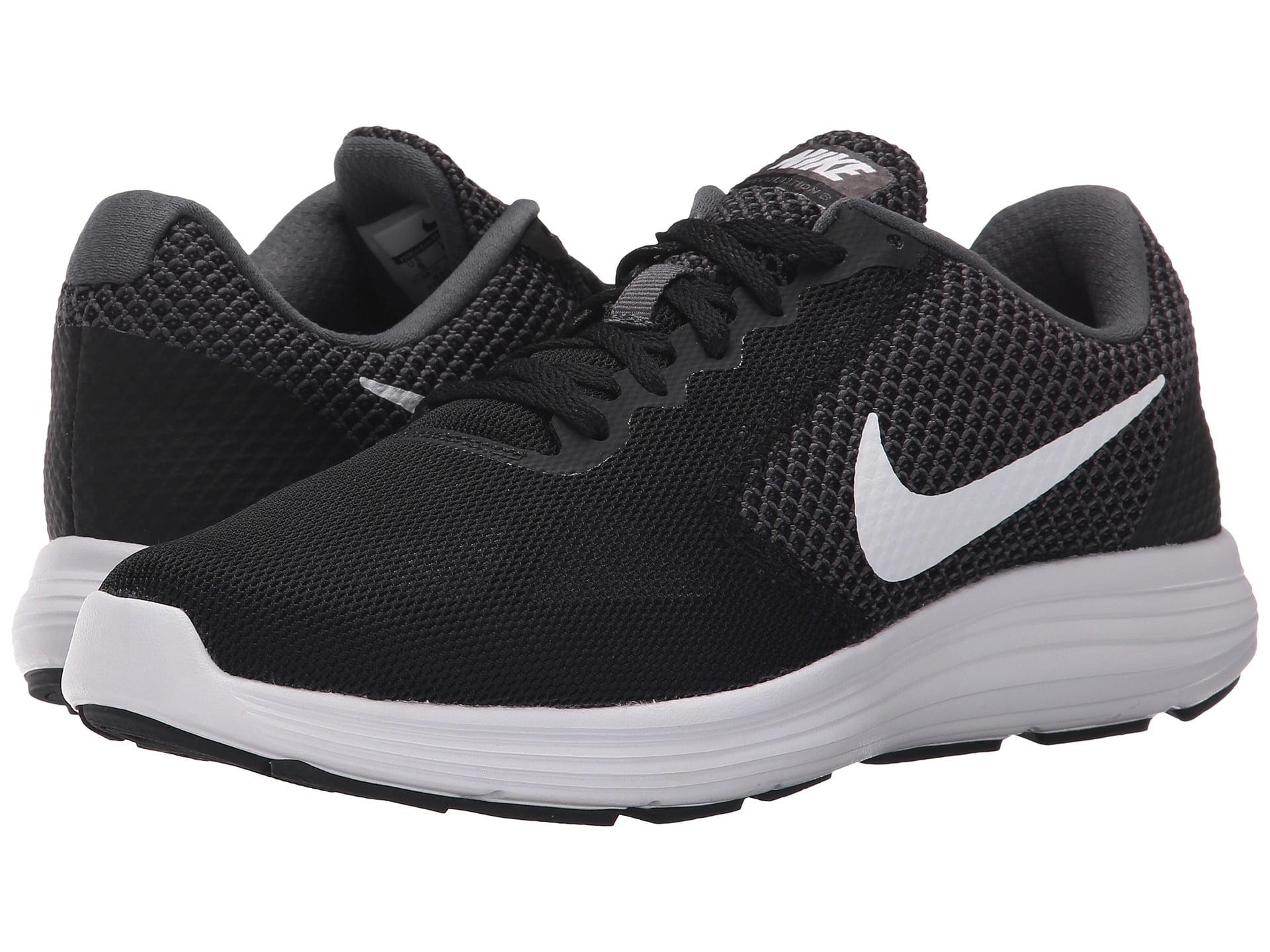 Nike REVOLUTION 3 Womens Black White Dark Grey Athletic Lace Up ... 53399798574d