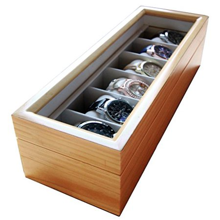 (Solid Light Wood Watch Box Organizer with Glass Display Top by Case Elegance)