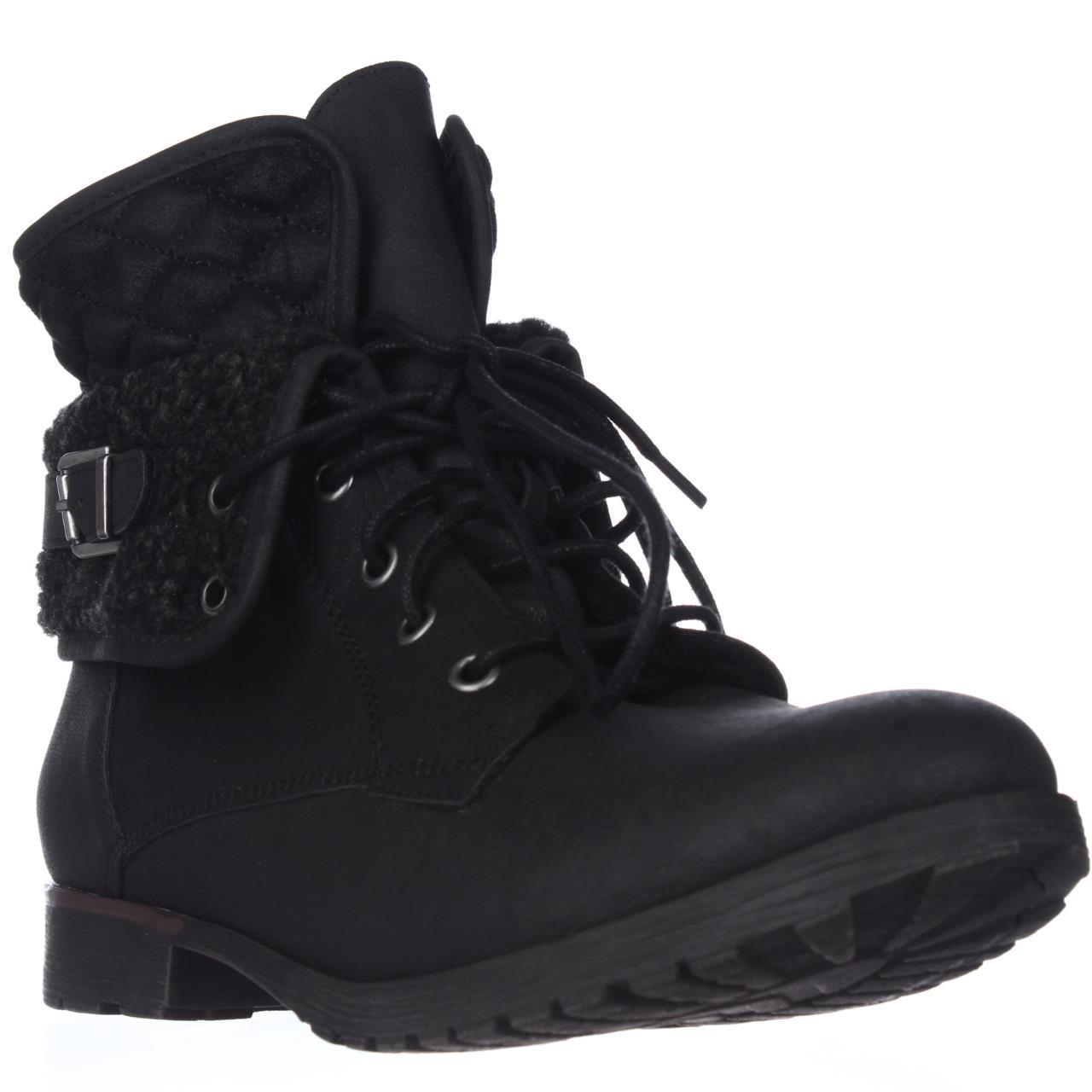 Womens Rock & Candy Spraypaint Foldover Ankle Boots - Black