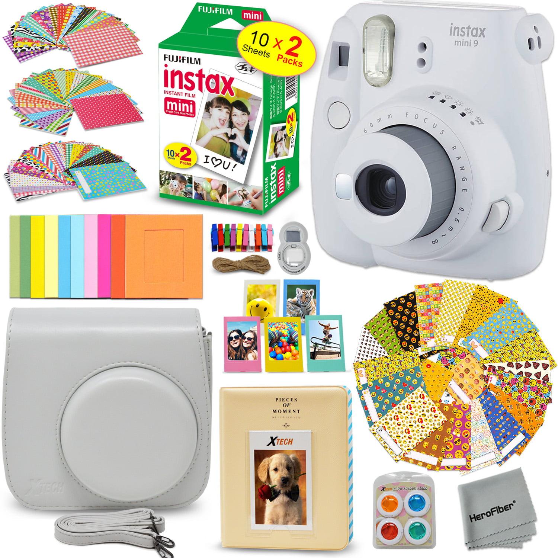 Fujifilm instax mini 9 instant camera smokey white emoji film stickers fuji instax film 20 sheets custom fitted case instax album colorful