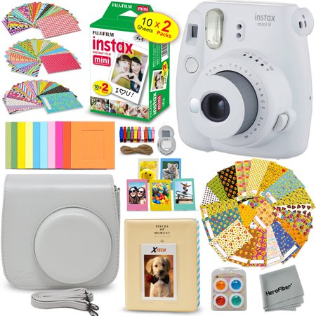 FujiFilm Instax Mini 9 Instant Camera SMOKEY WHITE + EMOJI Film stickers + Fuji INSTAX Film (20 Sheets) + Custom Fitted Case + Instax Album + Colorful Stickers + Fun Frames + 4 Colored Filters +
