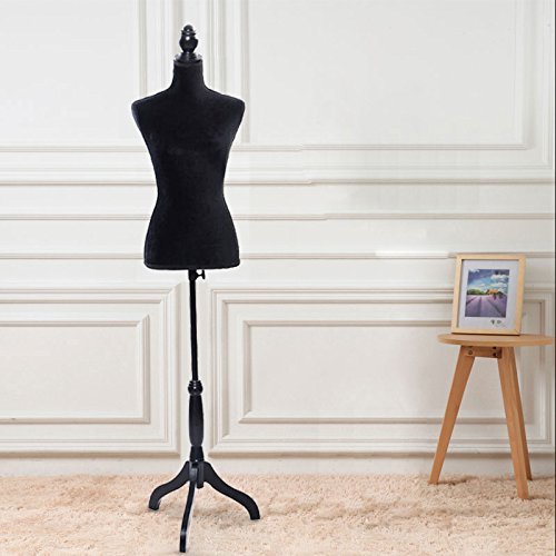 Zimtown Female Dress Form Pinnable Mannequin Body Torso with Wooden Tripod Base Stand(6 color)