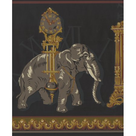 Antique Clocks Elephant Charcoal Grey Extra Wide Wallpaper Border Retro Design, Roll 15' x 13.5