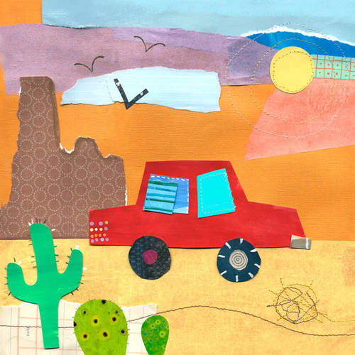 Oopsy Daisy's On the Road- Desert Canvas Wall Art, 14x14
