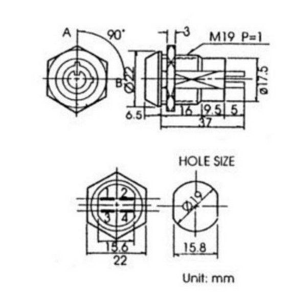 26 4630 Dpst Solder Key Switch 4a 125vac2a 250vac