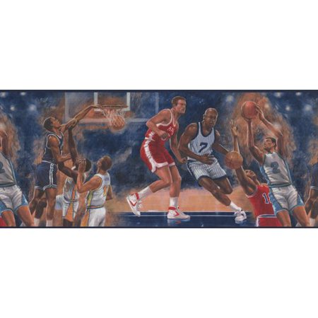 York Wallcoverings Vintage Basketball Game Sports Retro Design 15' L x 10.25'' W Wallpaper (Basketball Wallpaper Borders)