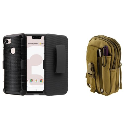 Bemz Accessory Bundle for Google Pixel 3 (5.5 inch display - Does NOT fit XL version) - BC Armor Combo Series Case (Dark Carbon Fiber), Tactical MOLLE Pack (Khaki) and (Khaki Combo)