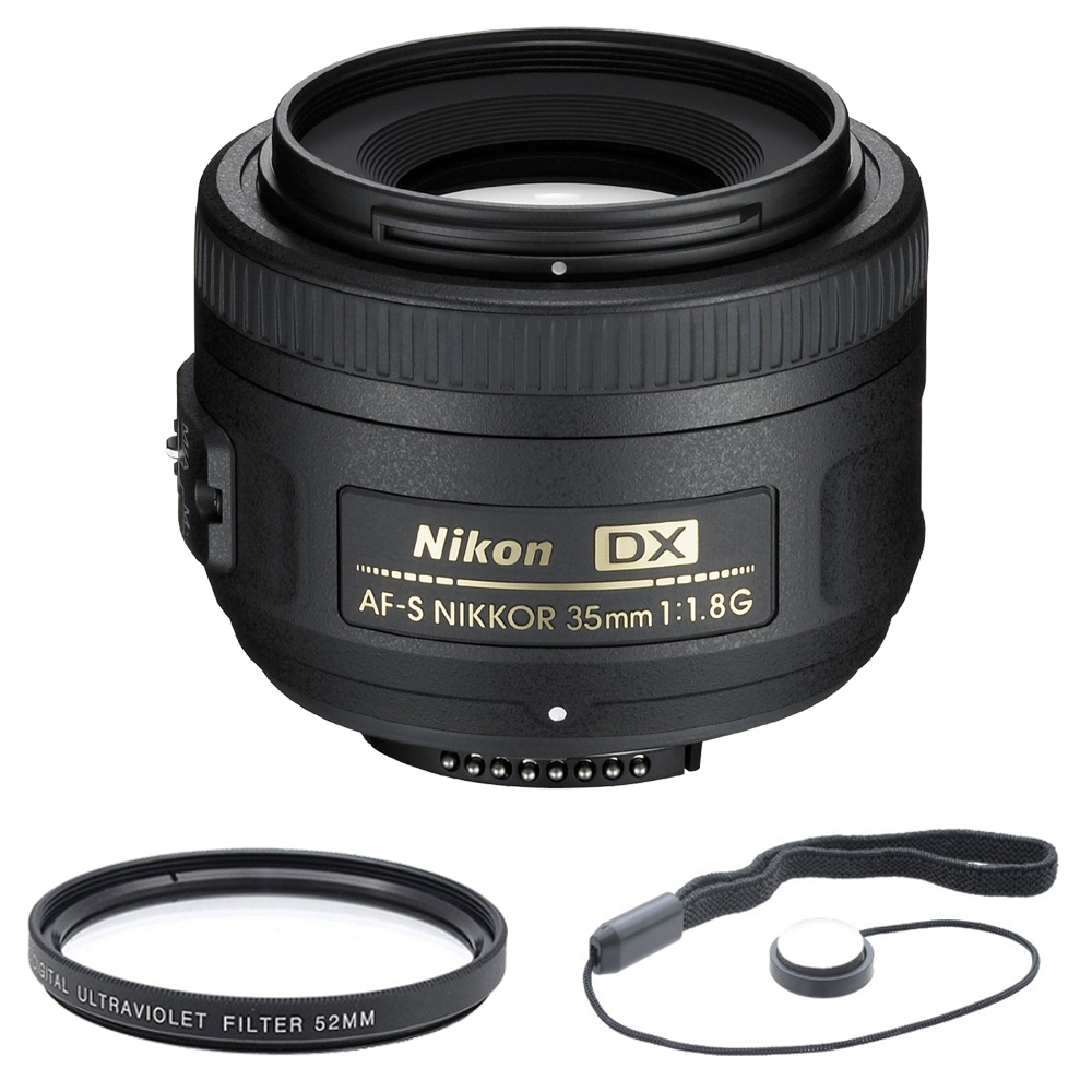 Nikon 35mm f/1.8G AF-S DX Lens for Nikon Digital SLR Cameras (2183) with 52mm Multicoated UV Protective Filter--offers lens protection & clearer pictures, and lens cap keeper.
