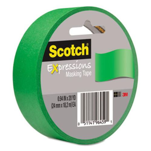 "Scotch Expressions Masking Tape - 0.94"" Width X 60 Ft Length - Writable Surface, Easy Tear - 1 Roll - Primary Green (3437pgr)"