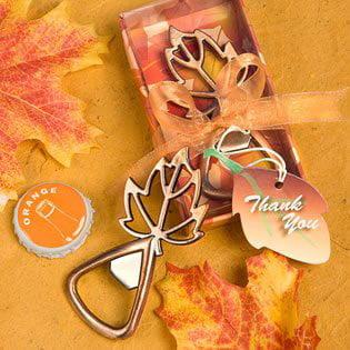 Fall Wedding Favors: Leaf Shaped Bottle Openers, 72, each metal bottle opener favor measures 3
