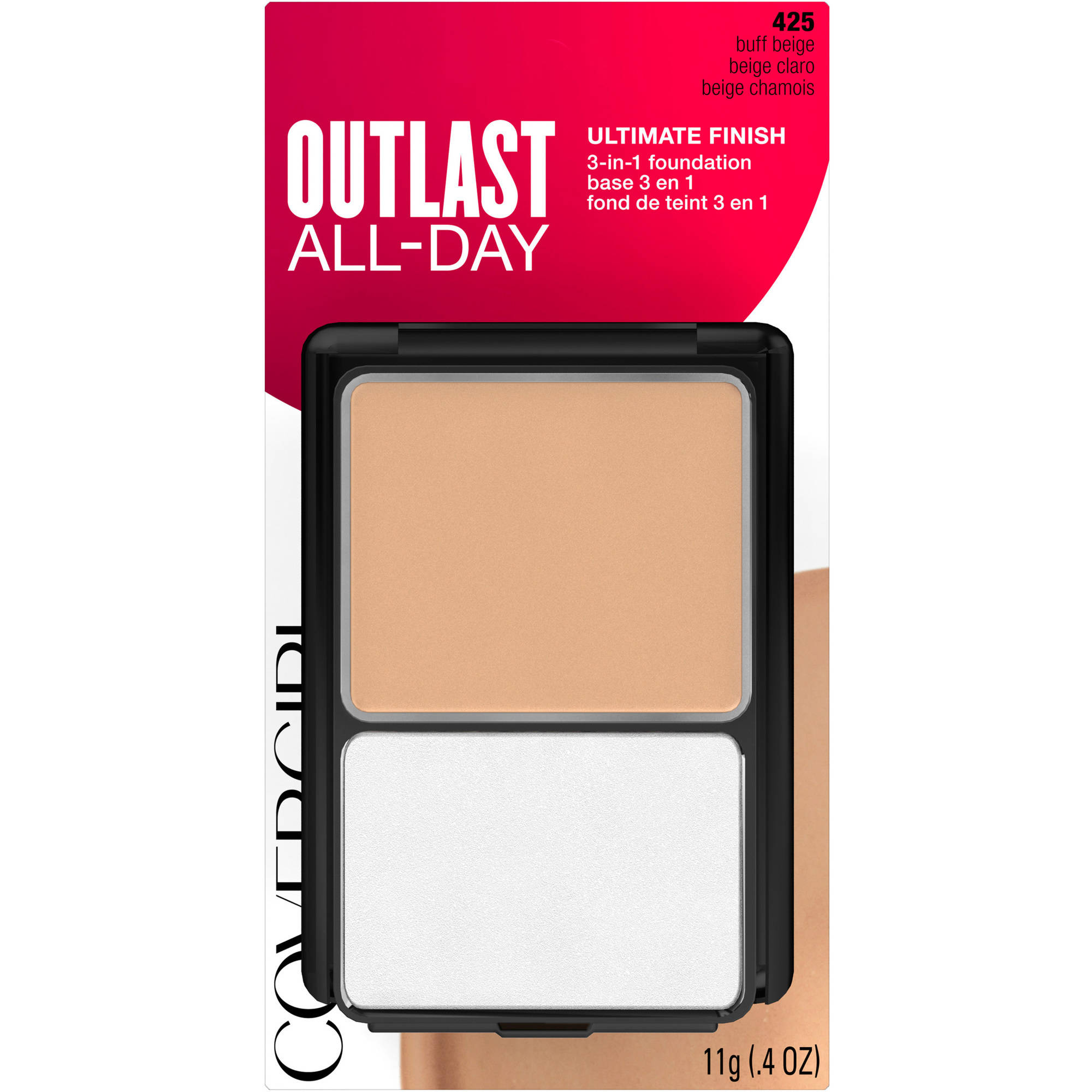 COVERGIRL Outlast All-Day Ultimate Finish 3-in-1 Foundation, 425 Buff Beige, 0.4  oz