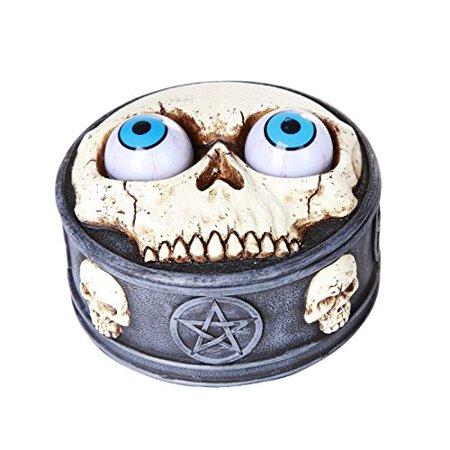 Novelty Rolling Evil Eye Balls Skull Box Pentagram Skull Resin Trinket Box (Pentagram Trinket)