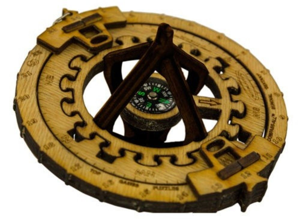 """Click here to buy General Symmetrics Compass ALL Sundial Sextant Brain Teaser Game 5"""" x 3"""" by General Symmetrics."""