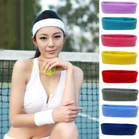 Cotton Womens Men Sport Sweat Sweatband Headband Yoga Gym Stretch Head Band (Best Workout Headbands That Stay In Place)