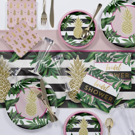 Large Golden Pineapple Deluxe Bridal Shower Party Supplies Kit