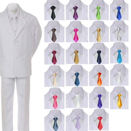 6pc Boy Baby Kid Teen Formal Wedding White Suit Tuxedo Extra Satin Necktie S-7](Boys White Suits)