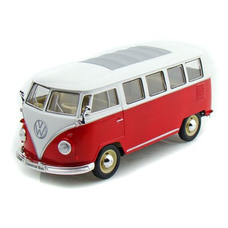 Red & White 1963 Volkswagen T1 Bus 1/24 Scale Diecast Model by Welly (Welly Fleece)