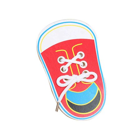 1pcs Childern String Wooden Shoe Toys for Lacing Shoes for Early Education Baby Toddler Toys Color Random - image 1 de 10