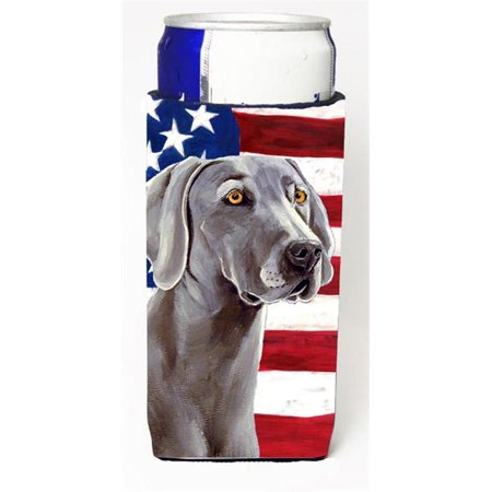 Carolines Treasures LH9001MUK Usa American Flag With Weimaraner Michelob Ultra bottle sleeve for Slim Can - image 1 de 1