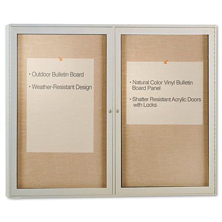 """Ghent Enclosed Outdoor Bulletin Board, 48"""" x 36"""", Satin Finish Frame"""