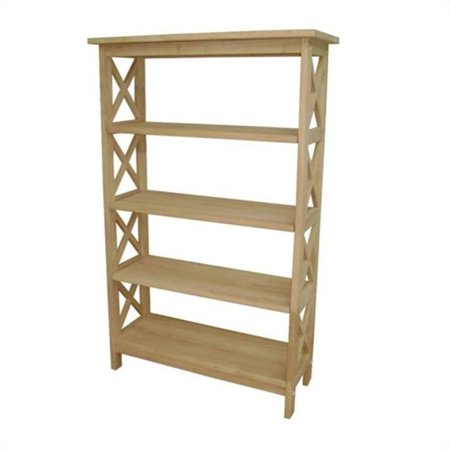 Pemberly Row Unfinished Wood X-Sided 4 Tier Bookcase