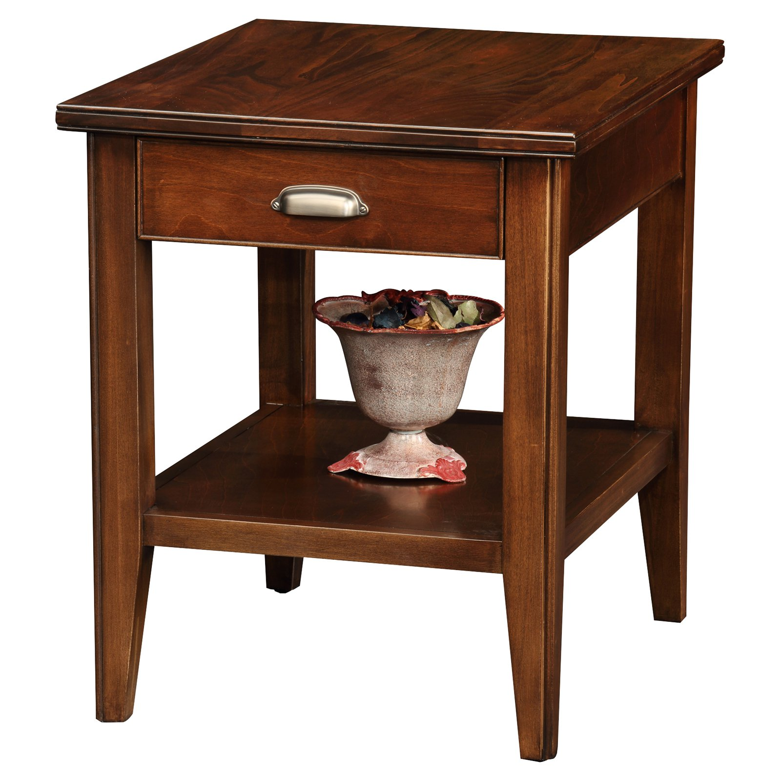 Perfect Leick Furniture Laurent Solid Wood Square End Table In Chocolate Cherry
