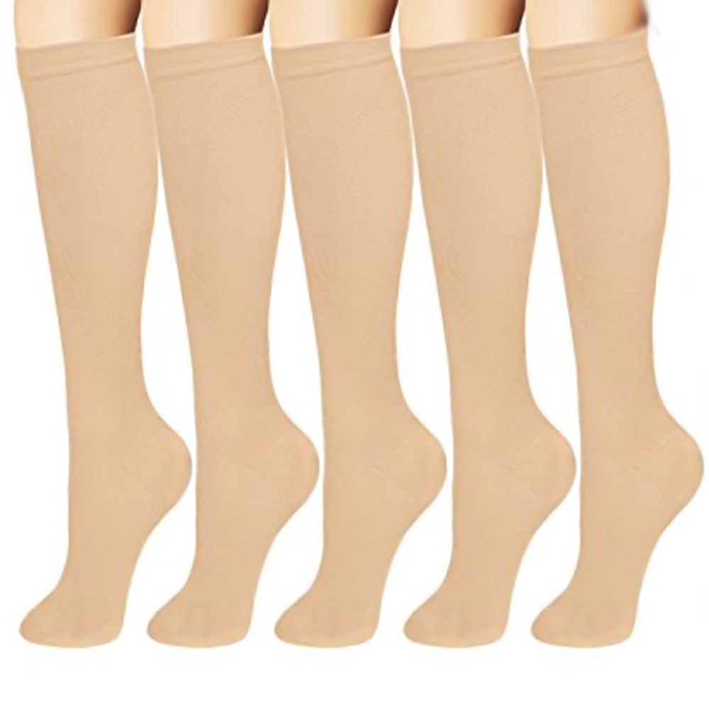 Knee High Graduated Women & Men Compression Socks For Blood Circulation -Black-S/M