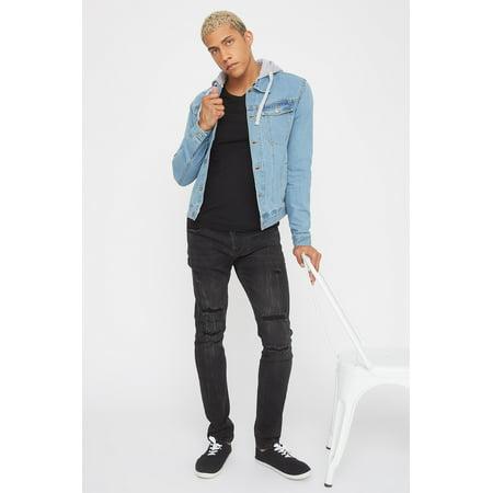Urban Planet Men's Detachable Fleece Hood Denim Jacket - image 1 of 5