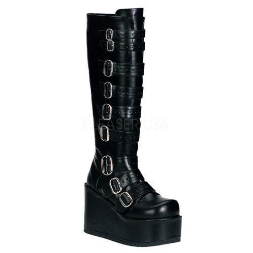 CON108 B PU Demonia Vegan Boots Womens BLACK Size: 6 by