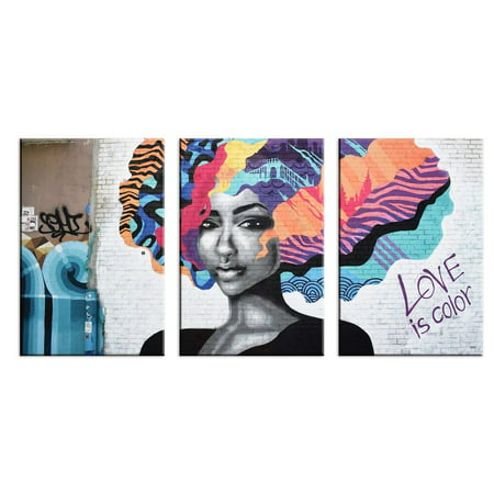 Wall26 3 Panel Canvas Wall Art Triptych Street Graffiti Series Love Is Color Giclee Print Gallery Wrap Modern Home Decor Ready To Hang 24 X36 X 3 Panels Walmart Com Walmart Com