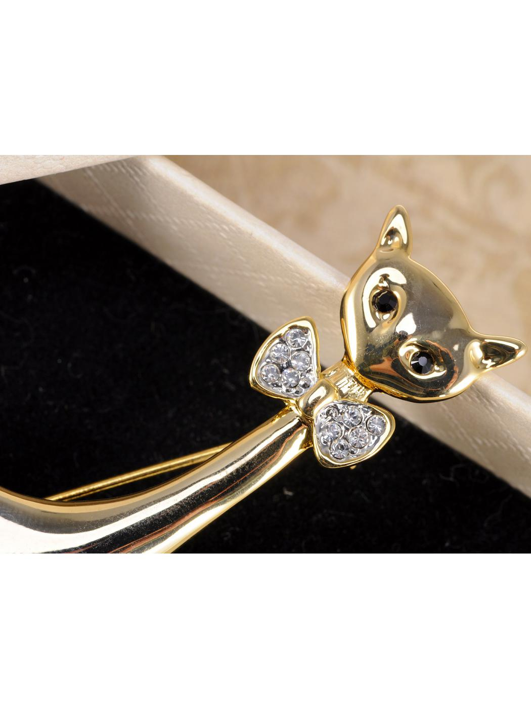 Lady Bow Tie Dressed Golden Smile Halloween Kitty Sitting Diamante Brooch Pin
