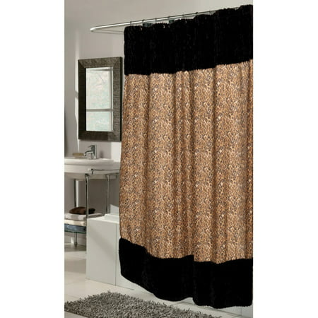 Carnation Home Fashions Animal Instincts Faux Fur Border Print Shower Curtain with PEVA