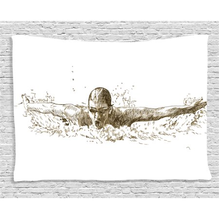 Butterfly Tapestry Wall Hanging - Olympics Decorations Tapestry, Swimmer Swimming Butterfly Competition Sport Sketch Artistic Image, Wall Hanging for Bedroom Living Room Dorm Decor, 60W X 40L Inches, Black White, by Ambesonne