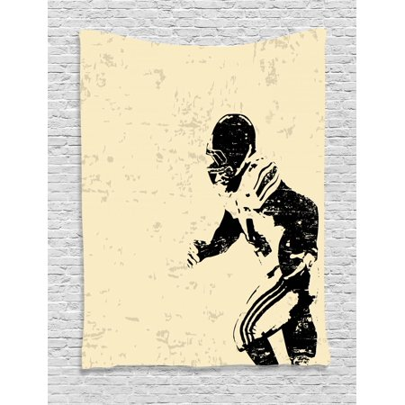 Sports Tapestry, Rugby Player in Action Running Success in Arena Playground Sport Best Team Picture, Wall Hanging for Bedroom Living Room Dorm Decor, Beige Black, by