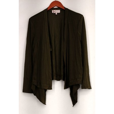 Vanessa Williams Size M Double Layer Knit Draped Jacket Green New A432995 Double Layer Jacket