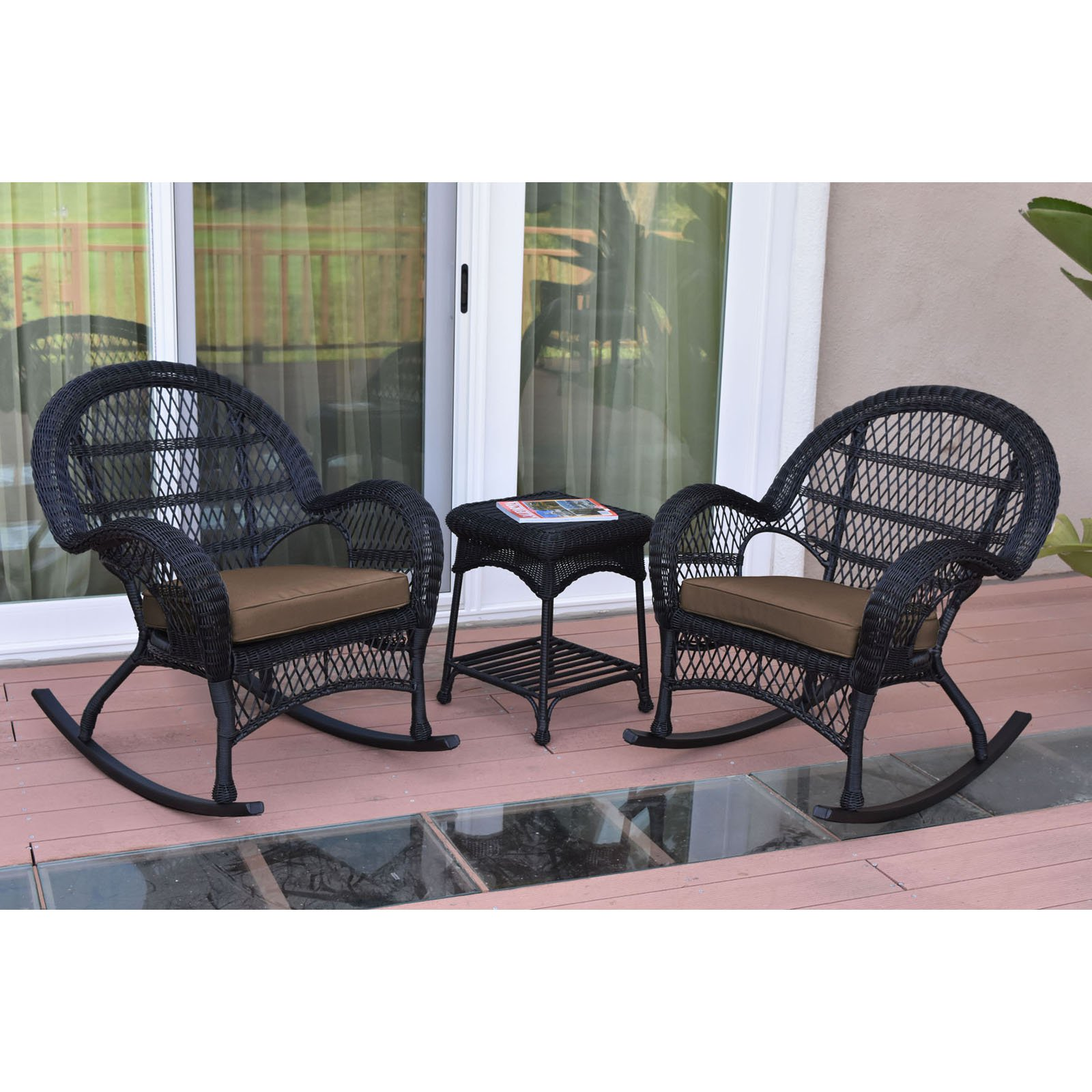 Jeco Santa Maria 3 Piece Wicker Rocker Chat Set with Optional Cushion