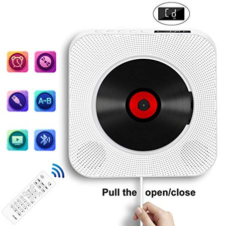 Portable CD Player with Bluetooth, Wall Mountable CD Music Player Home Audio Boombox with Remote Control FM Radio Built-in Hi (Bluetooth Music Remote)